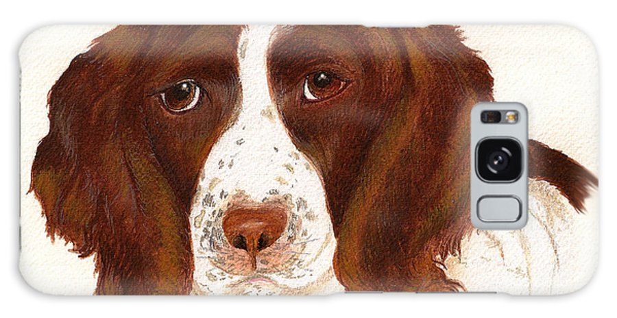 Animals Domestic Pets Canines Dogs english Springer Spaniels Brown hunting Dogs Galaxy Case featuring the painting Springer Spaniel by Nan Wright