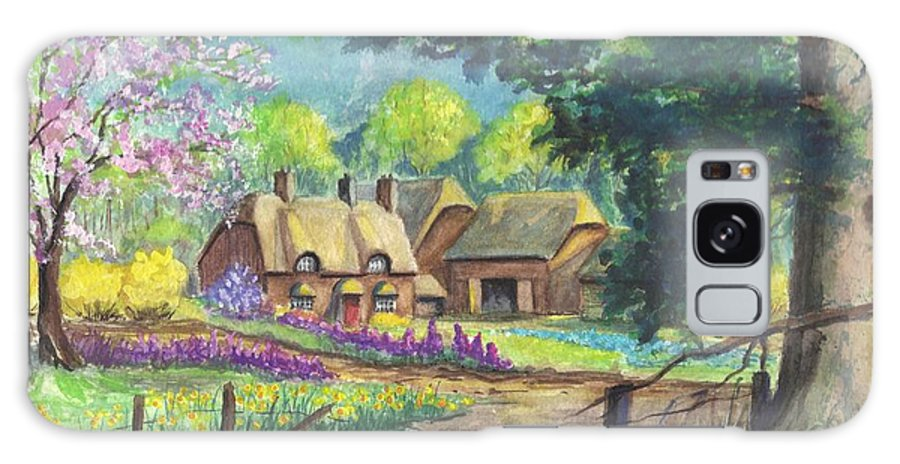 Hand Painted Galaxy S8 Case featuring the painting Springtime Cottage by Carol Wisniewski