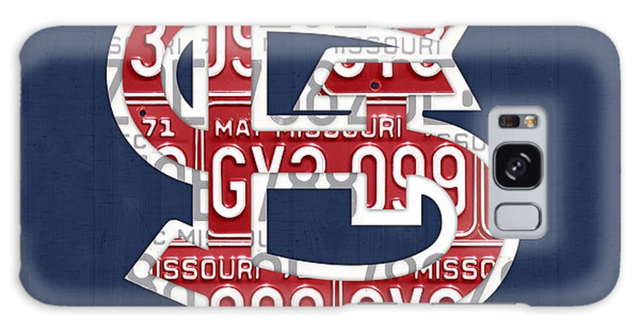St Galaxy S8 Case featuring the mixed media St. Louis Cardinals Baseball Vintage Logo License Plate Art by Design Turnpike