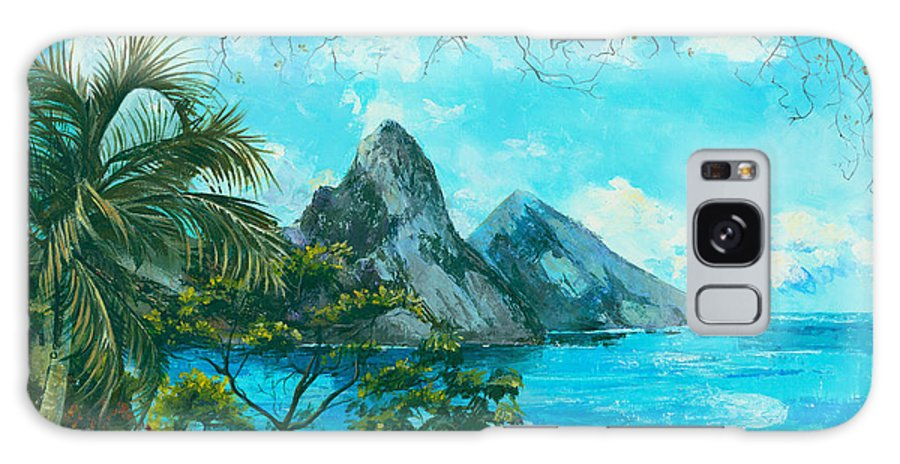 Mountains Galaxy S8 Case featuring the painting St. Lucia - W. Indies by Elisabeta Hermann