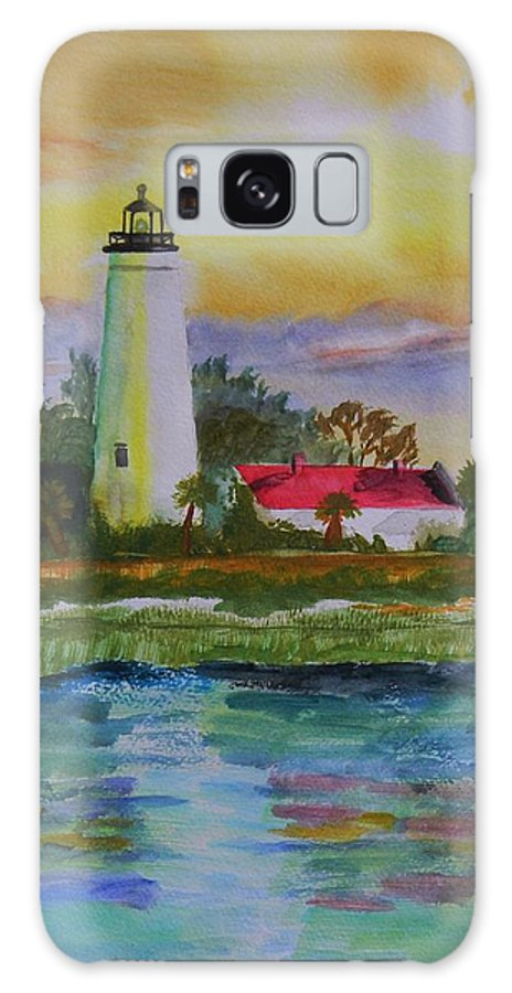 Landscape Galaxy S8 Case featuring the painting St. Marks Lighthouse-2 by Warren Thompson