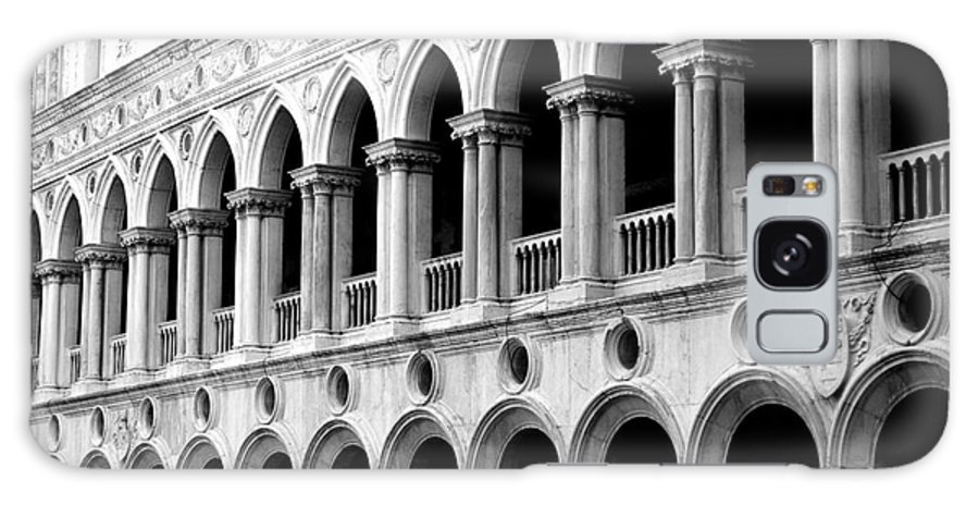 Black And White Galaxy S8 Case featuring the photograph St Mark's Square by Tracey Pearson Boyajian
