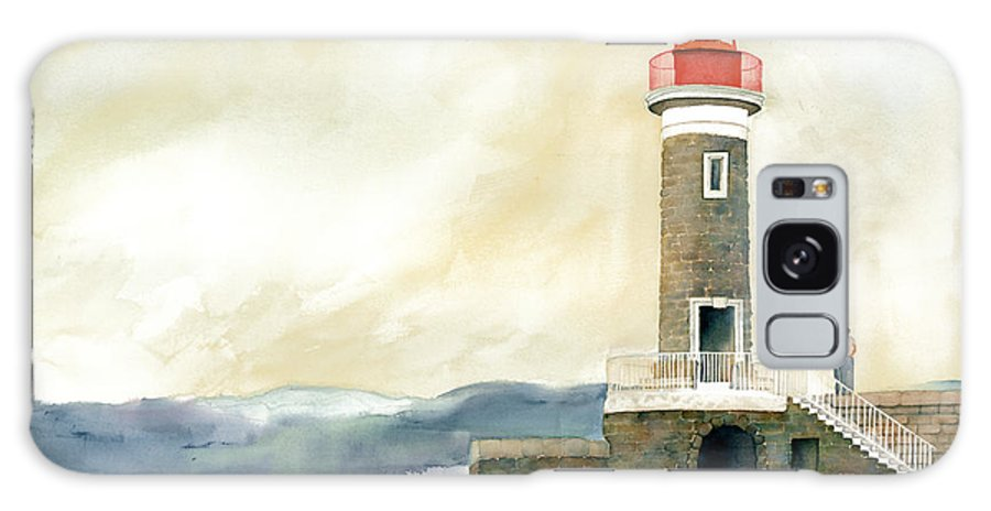 Lighthouse Galaxy S8 Case featuring the painting St. Tropez Lighthouse France by Carla Palmer