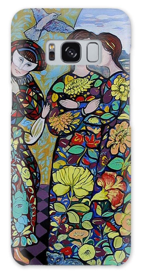 Stain Glass. Ladies. Women Galaxy S8 Case featuring the painting Stain Glass Women by Marilene Sawaf