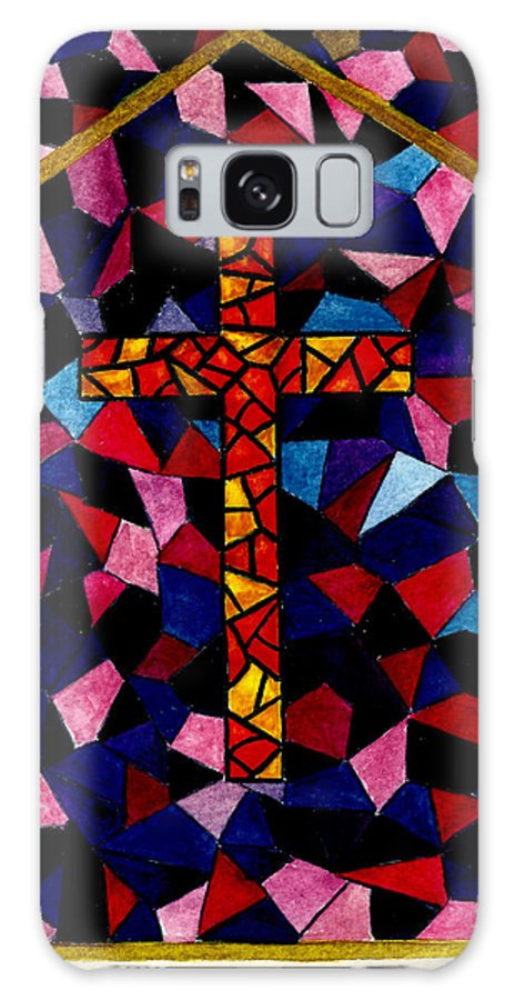 Cross Galaxy S8 Case featuring the painting Stained Glass Cross by Michael Vigliotti