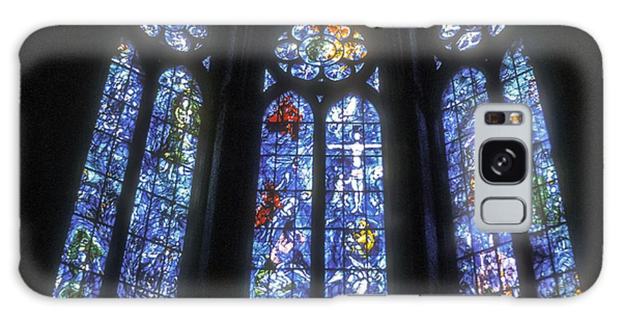 Rheims France Cathedral Interior Interiors Cathedrals Church Churches Stained Glass Window Windows Place Of Worship Places Of Worship City Cities Cityscape Cityscape Architecture Art Work Works Of Art Galaxy S8 Case featuring the photograph Stained Glass Triplets by Bob Phillips