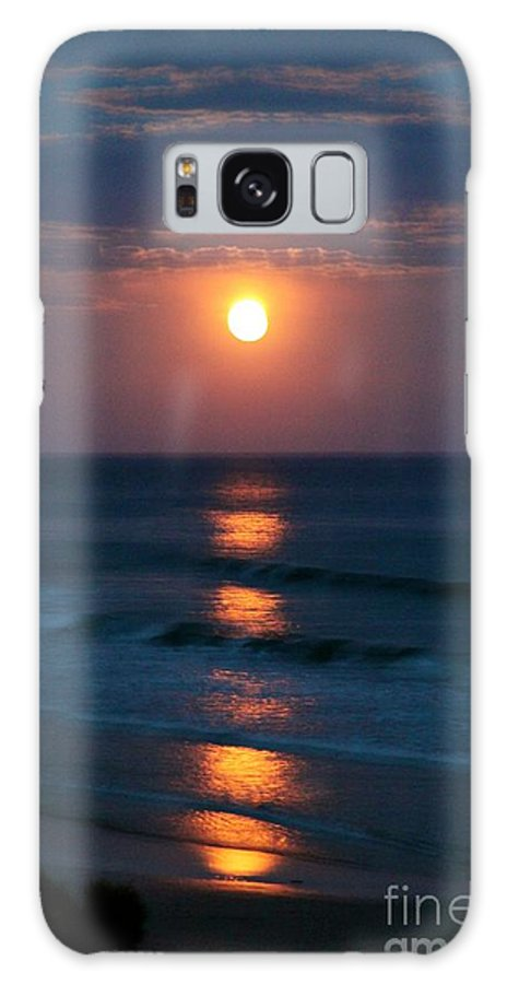 Full Moon Reflections Ocean Clouds Orange Pink Waves Indigo Galaxy S8 Case featuring the photograph Stairs To The Full Moon by Diana Wilde