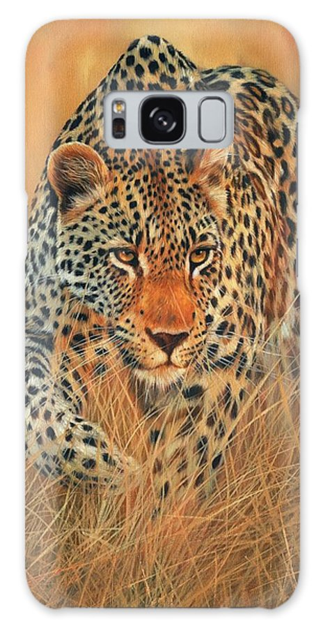 Leopard Galaxy S8 Case featuring the painting Stalking Leopard by David Stribbling