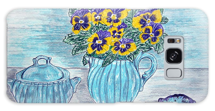 Stangl Pottery Galaxy S8 Case featuring the painting Stangl Pottery And Pansies by Kathy Marrs Chandler