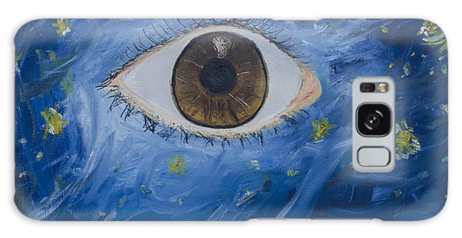 Surrealism Galaxy S8 Case featuring the painting Starry Night With Eye by Erendira Hernandez