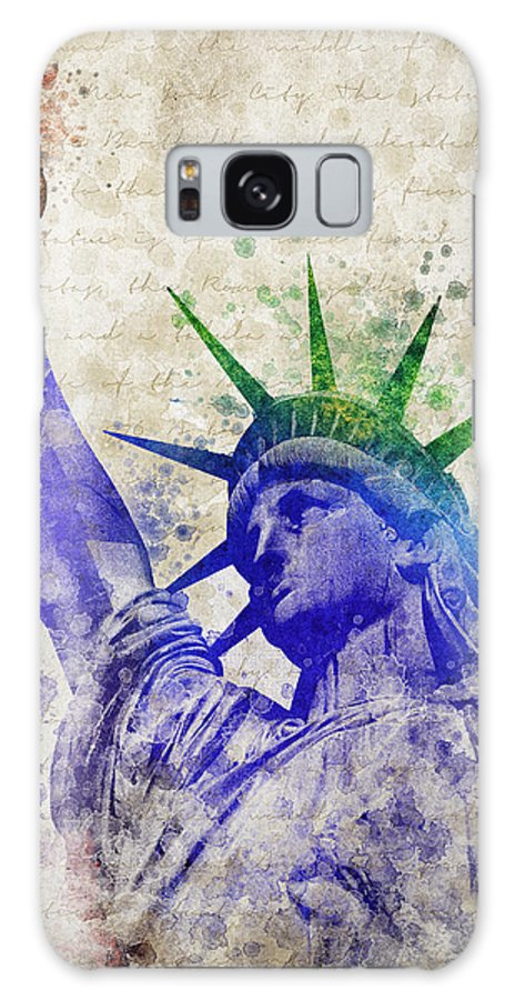 Statue Of Liberty Galaxy S8 Case featuring the digital art Statue Of Liberty by Aged Pixel