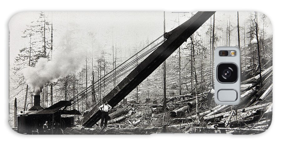 Logging Galaxy S8 Case featuring the photograph Steam Loader Loading Logs C. 1890 by Daniel Hagerman