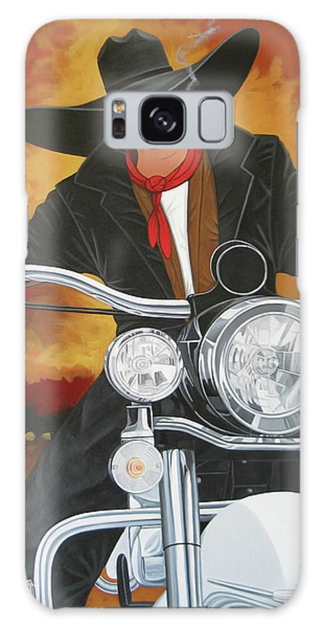 Cowboy On Motorcycle Galaxy S8 Case featuring the painting Steel Pony by Lance Headlee