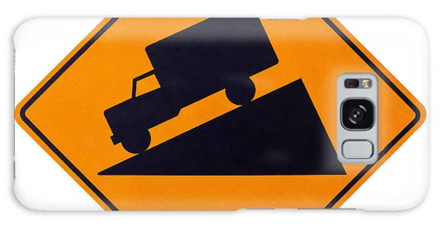 Ahead Galaxy S8 Case featuring the photograph Steep Grade Hill Ahead Warning Road Sign On White by Stephan Pietzko