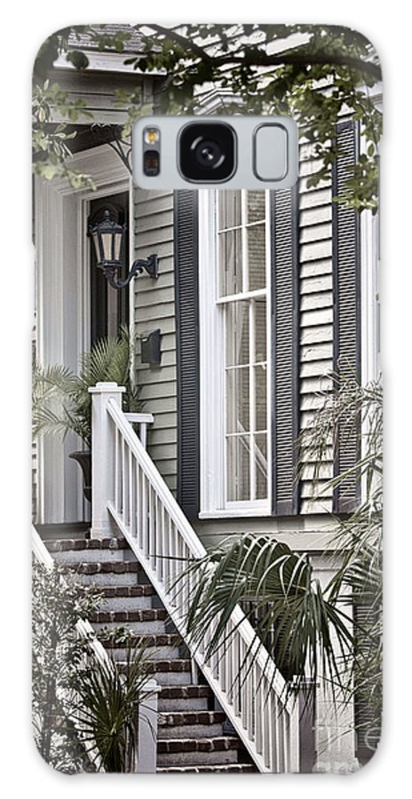 House; Home; Exterior; Outside; Outdoors; Steps; Stairs; Staircase; Brick; Wood; Rail; Railing; Side; Windows; Siding; Door; Light; Entrance; Facade; Entry; Plants; Green; Nature; Trees; Welcome; Lovely; Beautiful Galaxy S8 Case featuring the photograph Step Up by Margie Hurwich