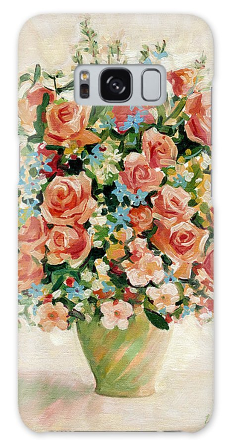 Flowers Galaxy Case featuring the painting Still Life With Roses by Iliyan Bozhanov