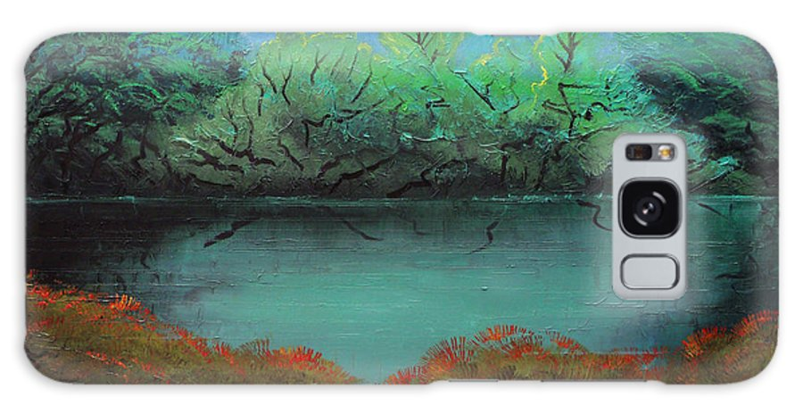 Landscape Galaxy Case featuring the painting Still water by Sergey Bezhinets