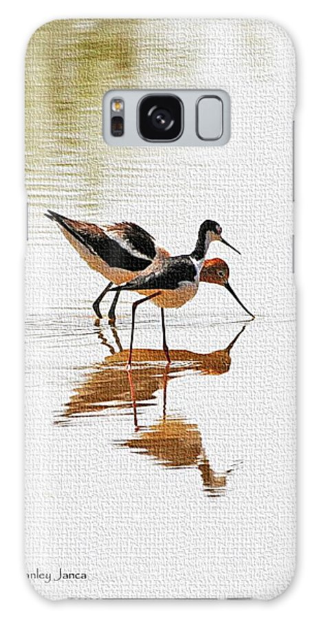 Stilt And Avocet Eat Together Galaxy S8 Case featuring the photograph Stilt And Avocet Eat Together by Tom Janca