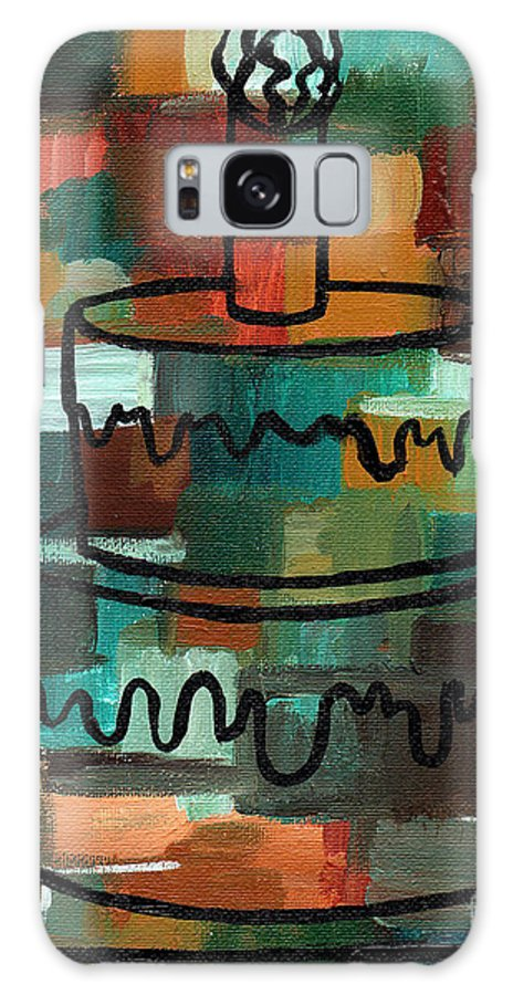 Stl250 Galaxy S8 Case featuring the painting Stl250 Birthday Cake Earth Tones Abstract by Genevieve Esson