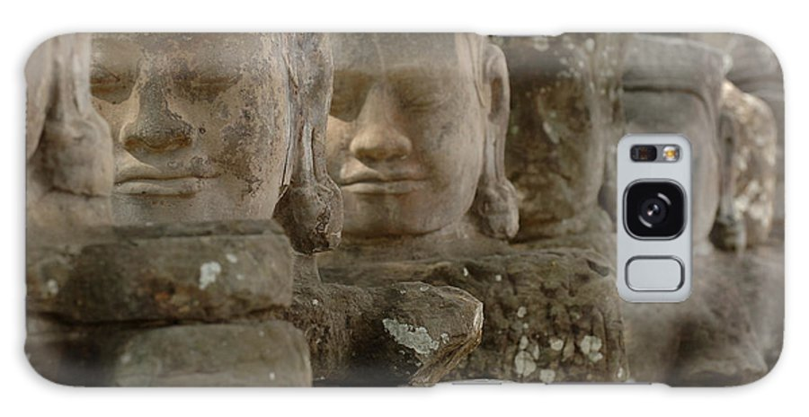 Cambodian Youth Galaxy S8 Case featuring the photograph Stone Figures Cambodia by Bob Christopher