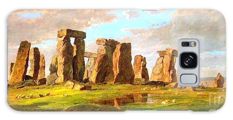 Pd Galaxy S8 Case featuring the painting Stonehenge by Pg Reproductions