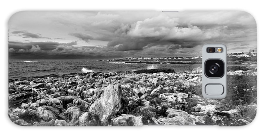 Abstract Galaxy S8 Case featuring the photograph A Black And White Landscape Of A Wild Sea Painting Of Black The Rocks Of Menorca North Shore by Pedro Cardona Llambias