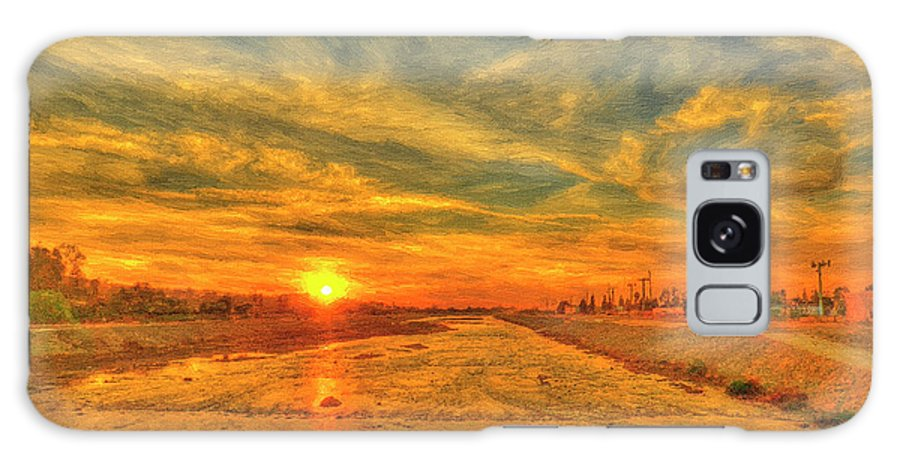 Sunset Galaxy S8 Case featuring the painting Stormy Sunset Over Santa Ana River by Angela Stanton
