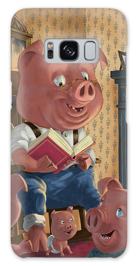 Story Telling Galaxy S8 Case featuring the painting Story Telling Pig With Family by Martin Davey