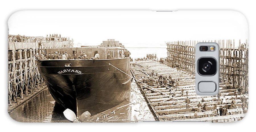 Str. Harvard Galaxy S8 Case featuring the drawing Str. Harvard In The Slip, Detroit, Harvard Freighter, Cargo by Litz Collection