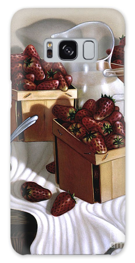Still Galaxy S8 Case featuring the painting Strawberries And Cream 1997 by Lawrence Preston