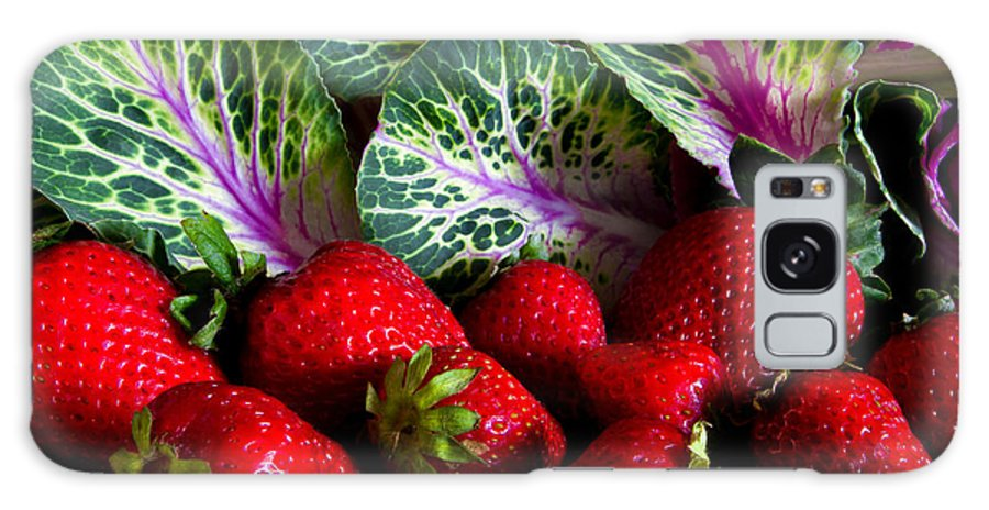Strawberries Galaxy S8 Case featuring the photograph Strawberries And Kale. by David Clemens
