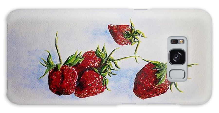 Strawberries Galaxy S8 Case featuring the painting Strawberries by Zaira Dzhaubaeva