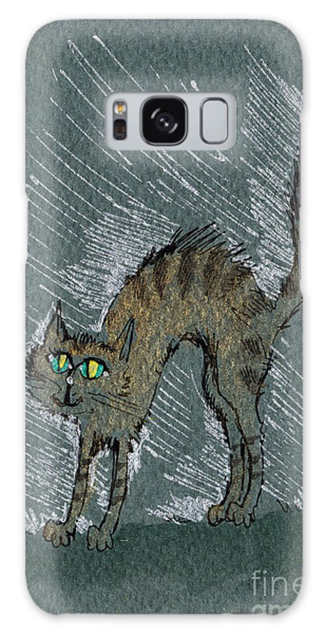 Cat Galaxy S8 Case featuring the drawing Stretching The Back by Angel Ciesniarska