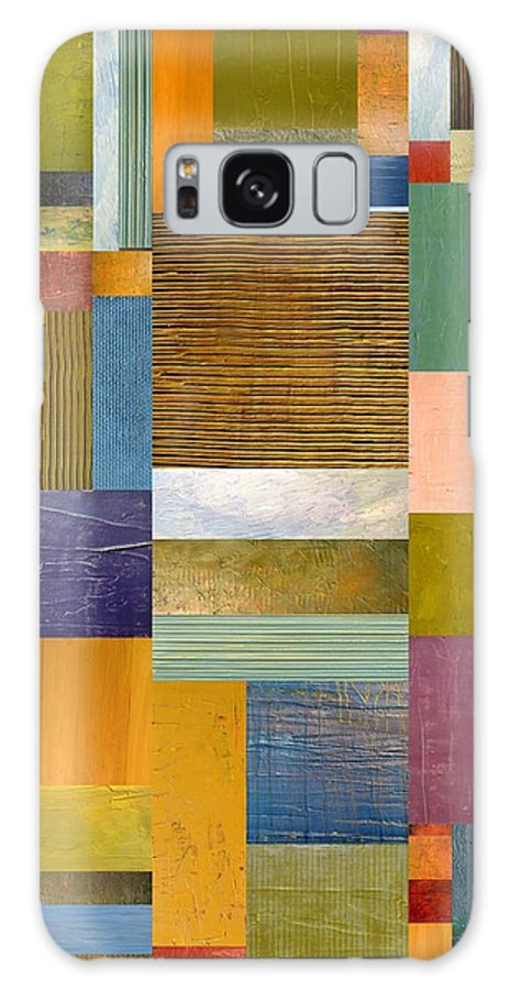 Textural Galaxy S8 Case featuring the painting Strips And Pieces Lv by Michelle Calkins
