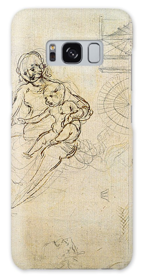 Female Galaxy S8 Case featuring the photograph Studies For A Virgin And Child And Of Heads In Profile And Machines, C.1478-80 Pencil And Ink by Leonardo da Vinci
