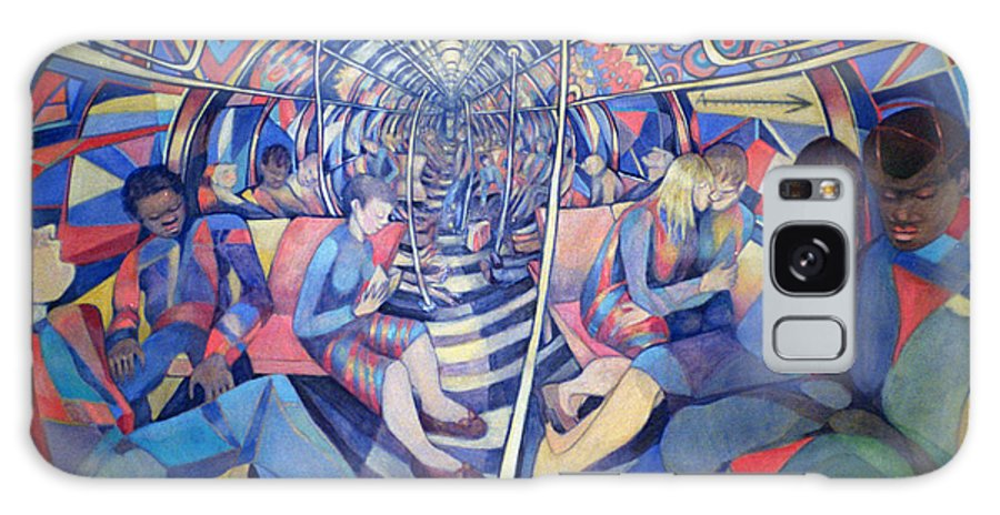 Underground Galaxy S8 Case featuring the photograph Subway Nyc, 1994 Oil On Canvas by Charlotte Johnson Wahl
