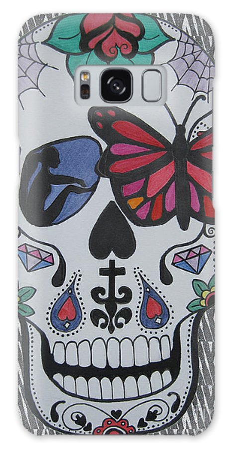 Sugarskull Galaxy S8 Case featuring the drawing Sugar Candy Skull Zebra by Karen Larter