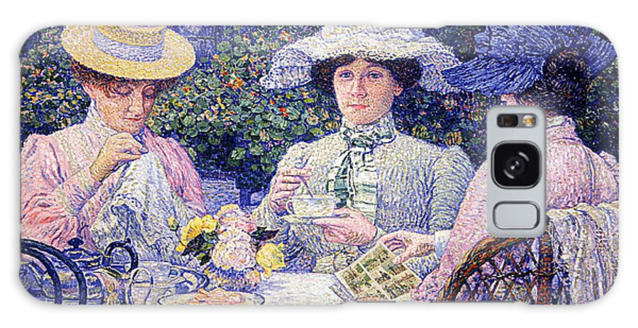 Classic Art With A Change Galaxy S8 Case featuring the digital art Summer Afternoon Tea In The Garden-1901 by Theo van Rysselberghe