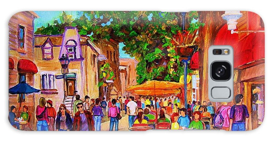 Summer Cafes Montreal Street Scenes Galaxy S8 Case featuring the painting Summer Cafes by Carole Spandau