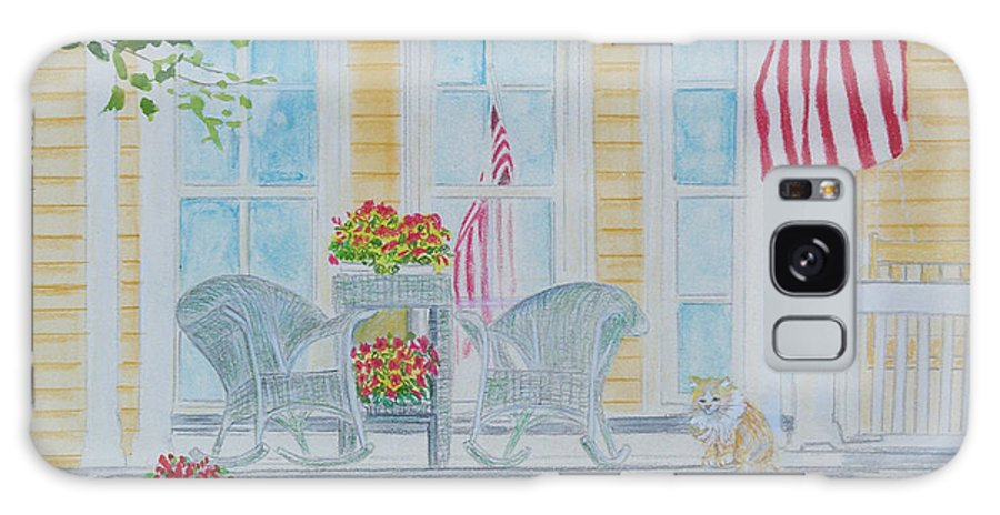 Art Galaxy Case featuring the painting print Summer Porch and Flag for sale by Diane Jorstad