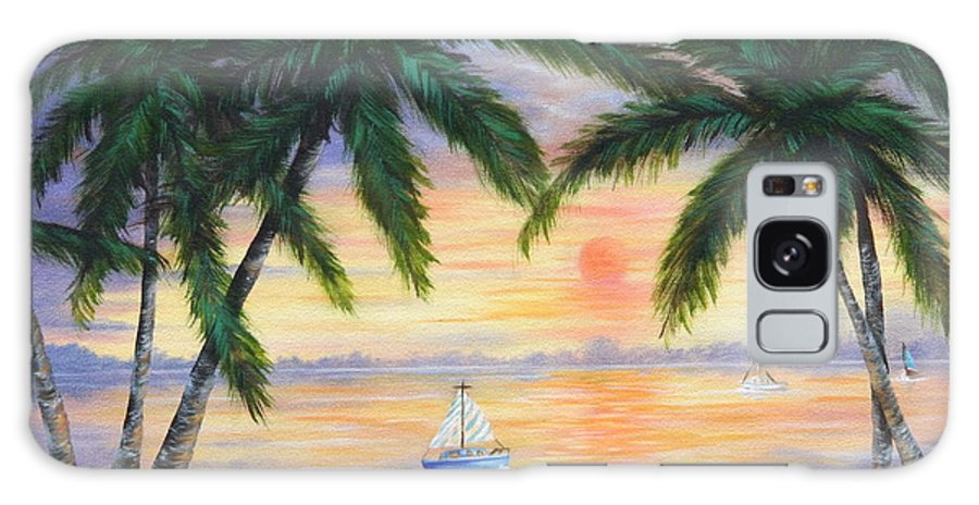 Seascape Galaxy Case featuring the painting Summer Sunset by Ruth Bares