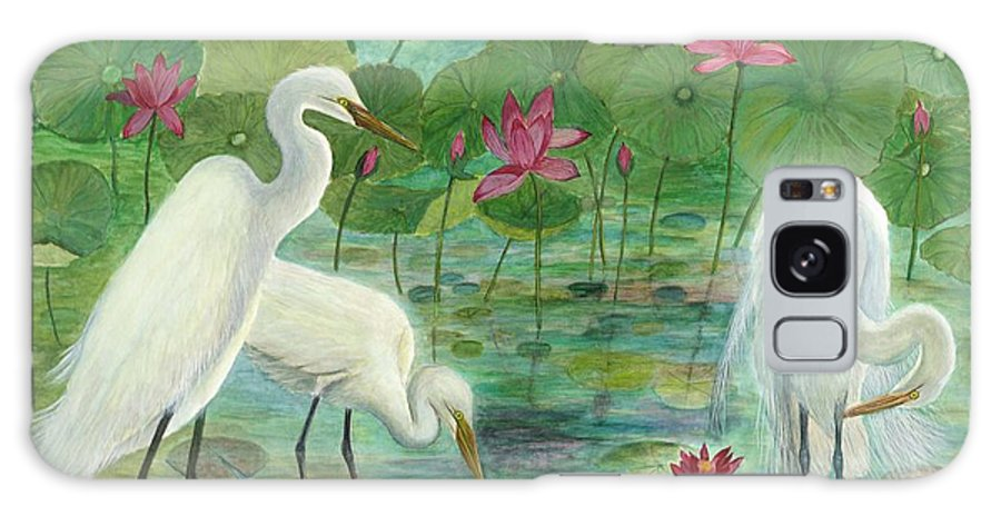 Lily Pads; Egrets; Low Country Galaxy S8 Case featuring the painting Summer Trilogy by Ben Kiger