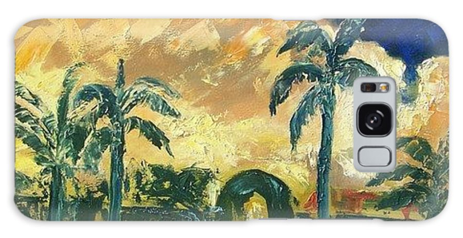 Landscape Galaxy S8 Case featuring the painting Summer Twilight by Janet Villasmil
