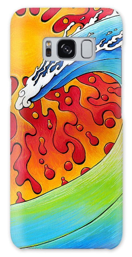 Surf Galaxy S8 Case featuring the painting Sun And Surf by Adam Johnson