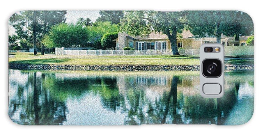 Lake Galaxy S8 Case featuring the digital art Sun Lakes Oil by Georgianne Giese
