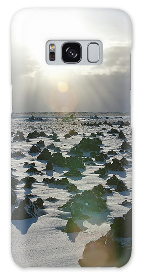 Scenics Galaxy S8 Case featuring the photograph Sun Shining On A Field Of Lava Rocks by Thomas Kokta