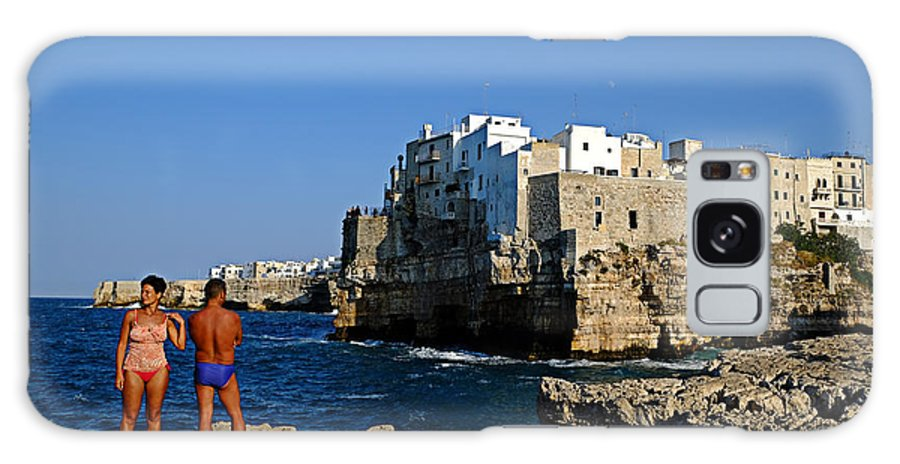 Polignano A Mare Galaxy S8 Case featuring the photograph Sunbathing At Polignano A Mare by Gianmarco Cicuzza