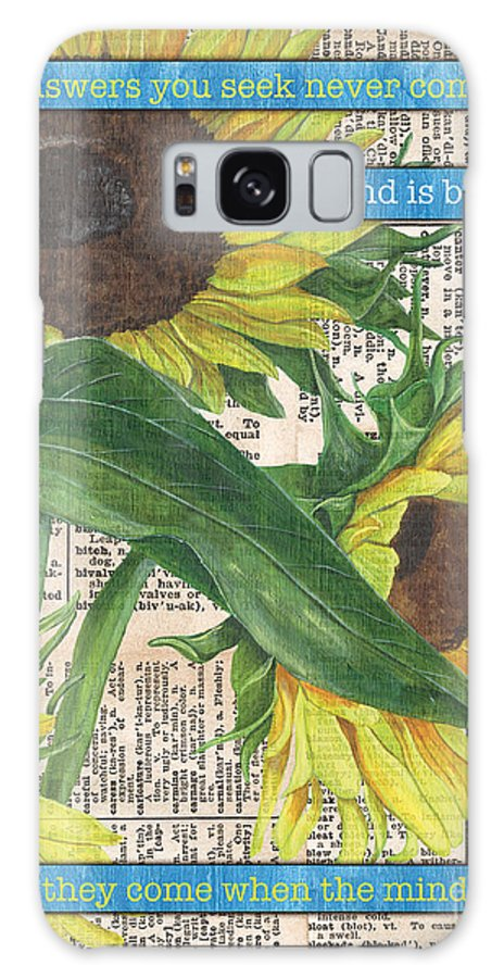 Floral Galaxy Case featuring the painting Sunflower Dictionary 1 by Debbie DeWitt