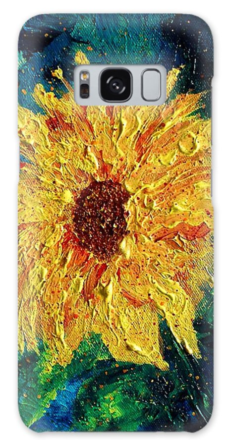 Sunflower Galaxy S8 Case featuring the painting Sunflower - Tribute To Vangogh by Robin Monroe