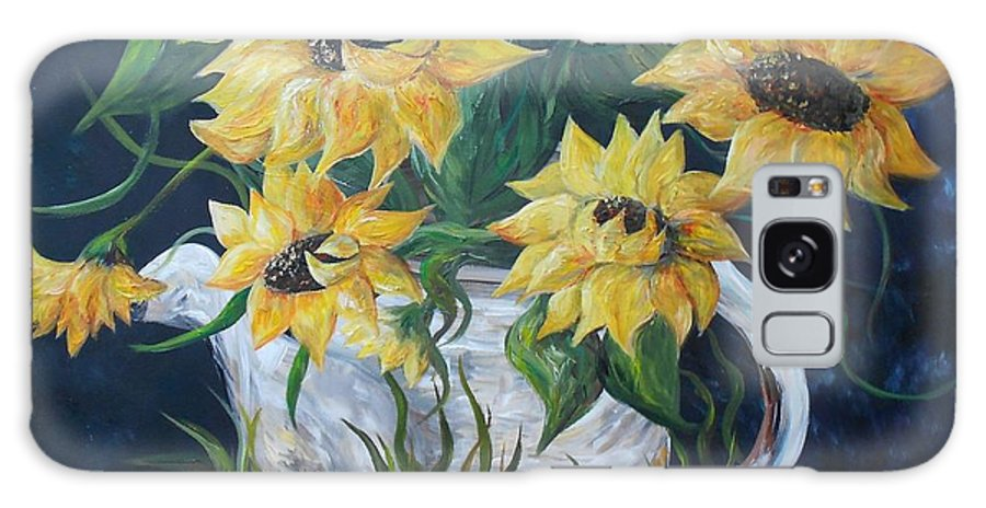 Sun Galaxy S8 Case featuring the painting Sunflowers In An Antique Country Pot by Eloise Schneider Mote